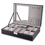 AIYAMAYA Multifuncional 8 Reloj Pantalla PU Caja de Cuero Joyero Organizador de Almacenamiento de Joyas (Color : Negro)
