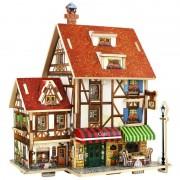 3D Puzzel Houten Speelgoed Koffie Lodge Huis Thuis Puzzels Composiet Model DIY Hout Speelgoed voor Kinderen Kids Jongens Huis Modeling