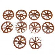 Lego Parts: Castle Wagon Wheel Large 33mm - Notched for wheels Holder Pin (Service Pack 4489B - 10 Reddish Brown)