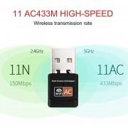 EB 600Mbps De Doble Banda Inalámbrica De La Tarjeta De Red De La Computadora Mini USB WiFi Adaptador-negro