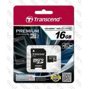 Micro SDHC card + Adapter (16GB class 10) Transcend Premium 400x