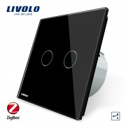 Intrerupator dublu cap-scara cap-cruce cu touch Livolo din sticla - protocol ZigBee, Control de pe telefonul mobil, negru