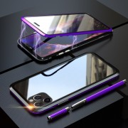 LUPHI Two-color Magnetic Installation Metal Frame + Tempered Glass Protective Shell for iPhone 11 Pro Max 6.5-inch - Purple/Black