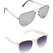 Hrinkar Aviator Sunglasses(Silver, Grey)