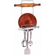 Rolling pin Holder Stainless Steel chakla belan Stand for Kitchen