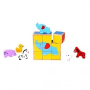 Fat Brain Toys Block Puzzle and Animals - Six-in-One Animal Friends Cube Puzzle
