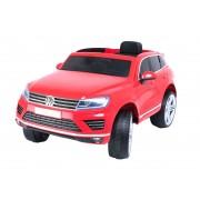 Mașinuță electrică pentru copii Volkswagen Touareg 2.4 Ghz, 2x motoare, telecomandă, scaune din piele, Radio FM, Bluetooth, roți ușoare EVA, MP3 USB SD, licență originală VW, roșu