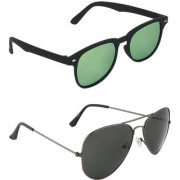 Zyaden Green Rectangular UV Protection Unisex Sunglasses Combo
