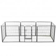 vidaXL Заграждение за куче, 8 панела, стомана, 80x80 см, черно