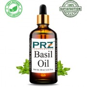 PRZ Basil ( Tulsi ) Essential Oil (30ML) - Pure Natural & Therapeutic Grade Oil For Aromatherapy Body Massage Skin Care & Hair Care