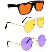 Elligator Aviator, Wayfarer, Round Sunglasses(Orange, Yellow, Violet)