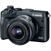 Canon EOS M6 Aparat Foto Mirrorless 24MP APSC Full HD Kit cu Obiectiv EF-M 15-45 F/3.5-6.3 IS STM Negru