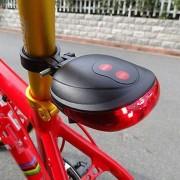 EH Tail Bici Posterior De La Seguridad Advertencia 5 LED + 2 Laser Light Lámpara Intermitente