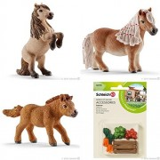 SCHLEICH Detailed Mini Shetty Horse Family of 3 Ponies (13775, 13776, 13777) with a Feed Set (42115) in a Clear Plastic Gift Bag Packed with Care