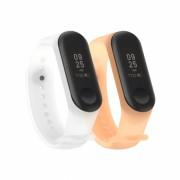 Set 2 curele din silicon transparent pentru bratara smart Xiaomi Mi Band 3/4 gri alb portocaliu