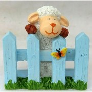 Wonderland 2.4 inches Sheep on Fence Decoration Mini (terrarium home garden decor gifting)