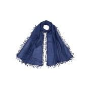 【70%OFF】シルク混 ドットモチーフトリム スカーフ ネイビー ファッション > ファッション小物~~スカーフ