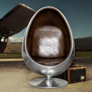 Fotoliu LUX design deosebit Space Egg argintiu/ maro A-19750 VC