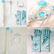 ER 4pcs Cosplay Tiara De La Corona De Pelo Corona Accesorios Peluca + Magic Wand Para Elsa Anna