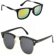 Amour-Propre Wayfarer, Clubmaster Sunglasses(Green, Black)