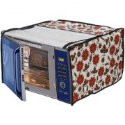 Glassiano White Floral Printed Microwave Oven Cover for IFB 25 Litre Convection Microwave Oven (25SC4 Metallic Silver)