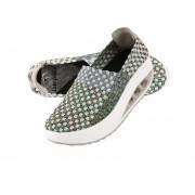 Las mujeres Sneakers transpirable tejido ligero Slip-on zapatos con suela gruesa Gris&Verde