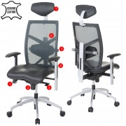 Bürostuhl MERRYFAIR Trek, Schreibtischstuhl, Leder-/Netzkombination ISO9001 130kg belastbar schwarz ~ Variantenangebot