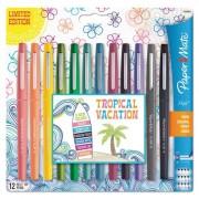 Point Guard Flair Bullet Point Stick Pen, Assorted Colors, .7mm, 12/set