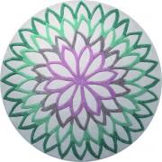 Covor Modern & Geometric Lotus Flower, Acril, Rotund, Turcoaz, 250x250
