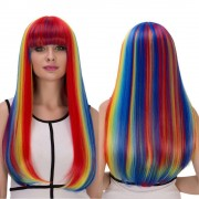 rosegal Rainbow Color Long Full Bang Tail Adduction Cosplay Synthetic Wig