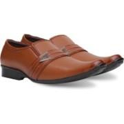 Axonza AXONZA Men's Synthetic Leather Office wear 199 Tan Slip On Formal Shoes Slip On For Men(Tan)