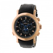 Heritor Automatic Kingsley Leather-Band Watch w/Day/Date - Rose Gold/Black HERHR4805
