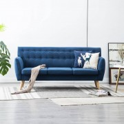 vidaXL 3-местен диван, тапицерия от плат, 172x70x82 см, син