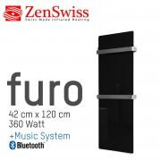 ZenSwiss furo Music Handtuchtrockner 42 x 120 cm (Glanz Schwarz)