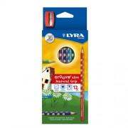 Színes ceruza Lyra Groove Slim 12 db-os klt. + hegyező