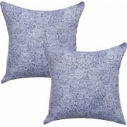 Set 2 fete de perna decorative BonDia Model Edda 601 43 cm x 43 cm Bumbac Albastru/Alb Floral