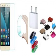 Samsung Galaxy J1 4G 03mm Curved Edge HD Flexible Tempered Glass with Nylon USB Travel Charger and Micro USB OTG Adaptor