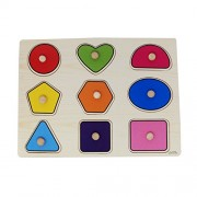 Parteet Wooden Colorful Learning Shapes Board for Kids with Knobs, Educational Learning Wooden Tray (Multi Color)