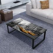 vidaXL négyszögletes dohányzóasztal üveglappal