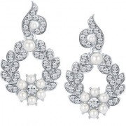 Sikka Jewels Shimmering Rhodium Plated Australian Diamond Earring