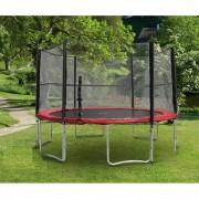 Trambulin biztonsági hálóval, 430 cm, piros