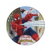 8 Pratos de cartão Spiderman 23 cm