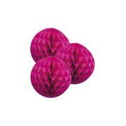 Merkloos 3 fuchsia roze papieren kerstballen 10 cm