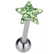 Tungpiercing med Stjärnformad GrönToppkula & Stenar