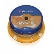 DVD-R VERBATIM 4.7GB 16X AZO MATT SILVER SPINDLE 25 43522