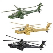 """Diecast Helicopter Set, Assorted Apache Toy Helicopters, Pullback Chopper Set (Set of 3) 8"""""""