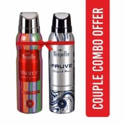 Mistpoffer NSorce Perfumed Deodorant + Mistpoffer Fauve Perfumed Deodorant Body Spray Couple Combo Offer Pack of 2 for Men Women 150 ml Each