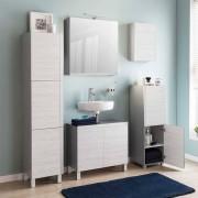 Badmöbel Set in Grau und White Wash Optik LED Beleuchtung (5-teilig)