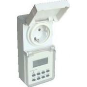 Dugaszolható elektronikus kapcsolóóra, heti - 230V, 16A ,IP44 TKO-DHEV - Tracon
