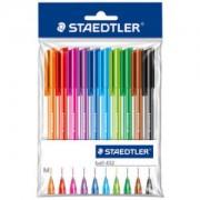 Staedtler ball 432 Kugelschreiber, Ergonomischer Dreikantstift für entspanntes Schreiben, 1 Packung = 10 Stück, farbig sortiert